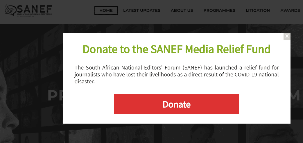 SANEF ANNOUNCES LAUNCH OF RELIEF FUND FOR JOURNALISTS